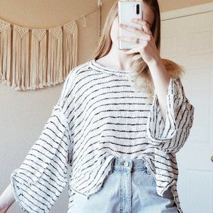 FREE PEOPLE Striped Oversized Hacci Pullover Top